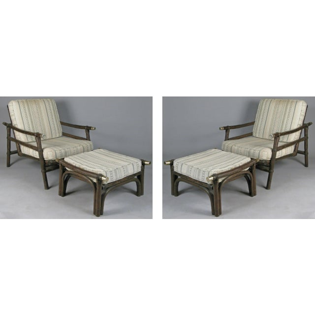 White Ficks Reed Style Rattan Lounge Chairs & Ottomans - 4 Pieces For Sale - Image 8 of 8