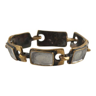 French St Luc Mid Century Modern Bronze and Enamel Link Bracelet For Sale