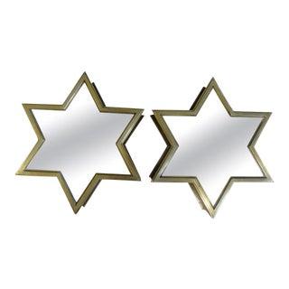Italian Mid-Century Modern Brass Star Mirrors For Sale