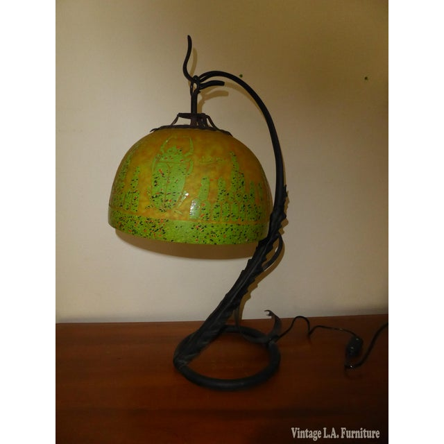 Mid-Century Modern Art Deco French Cameo Glass Green Table Lamp Light by Charder ~Charles Schneider For Sale - Image 3 of 10