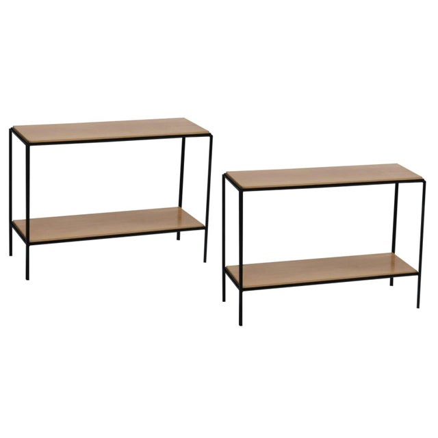Wrought Iron and Oak 'Rectiligne' End Tables by Design Frères - a Pair For Sale - Image 9 of 9