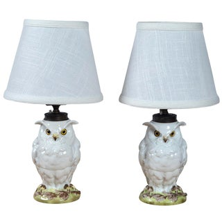 Late 19th Century Antique Ceramic Owl Lamps- a Pair For Sale