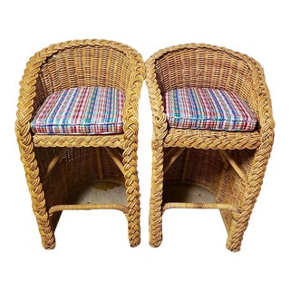 Mid-Century Modern Rattan Barstools - A Pair For Sale
