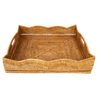 Artifacts Rattan Scallop Collection Square Tray For Sale