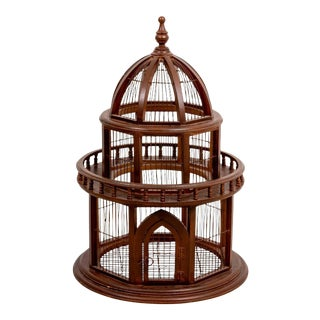 Early 20th Century Edwardian Style Wood Birdcage For Sale