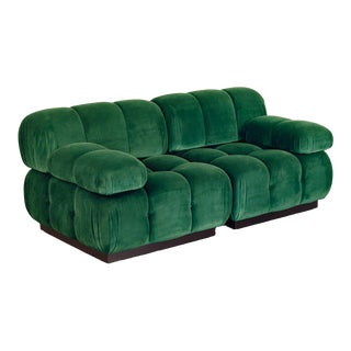 Open Air Modern Forest Green Velvet Custom Modular Tufted Loveseat For Sale