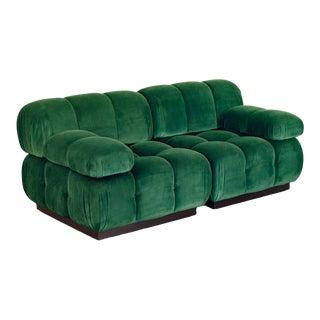 Open Air Modern Forest Green Velvet Custom Modular Tufted Loveseat For Sale