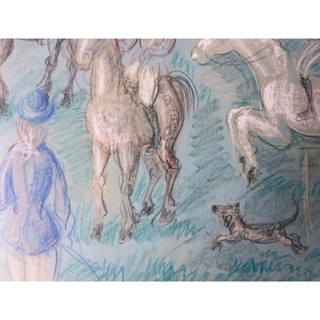 1950s Vintage French Hunting Scene Drawing For Sale In Miami - Image 6 of 9