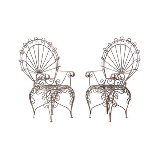 Pair of Salterini Iron Peacock Salesman Sample Chairs For Sale