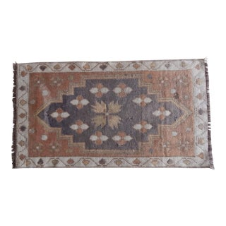 Distressed Low Pile Small Rug Turkish Hand Knotted Bath Mat Yastik Rug 1′8″ × 2′11″ For Sale