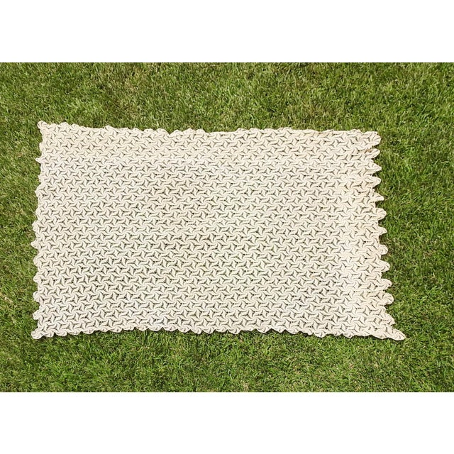 Hand Crocheted Ecru Pin Wheel Pattern Table Cloth or Bedspread For Sale - Image 9 of 9