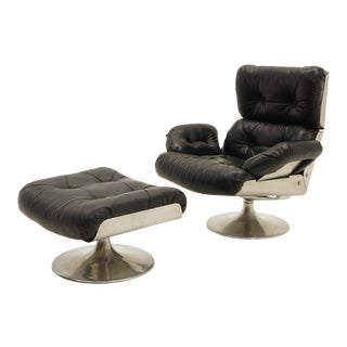 French Black Vinyl and Cast Aluminum Lounge Swivel Chair & Ottoman For Sale