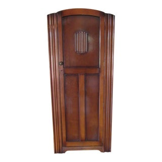 Mid-Century Art Deco Wardrobe Hall Coat Closet Cabinet For Sale