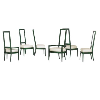 1970s Vintage Charles Hollis Jones Malachite and Lucite Dining Chairs - Set of 6