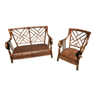 Vintage Chippendale Bentwood Rattan Settee and Chair