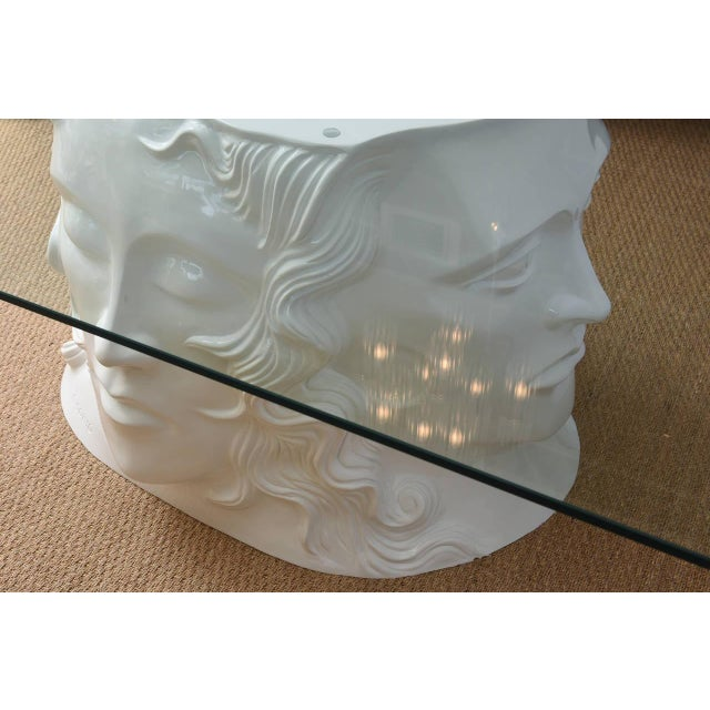 Signed White Lacquered Resin and Glass Dining / Center Table or Desk For Sale - Image 4 of 8