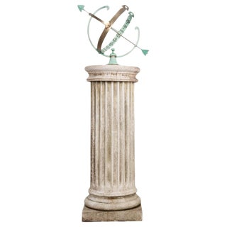 French Early 20th Century Armillary Sphere on Column Pedestal For Sale