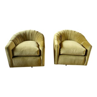 1970s Vintage Olive Velvet Swivel Chairs - a Pair For Sale