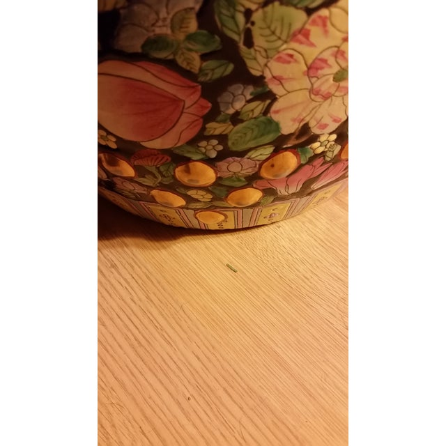 Vintage Chinoiserie Gilded Floral Garden Stool - Image 4 of 9