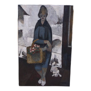 1960's French Expressionist Oil on Canvas Signed For Sale