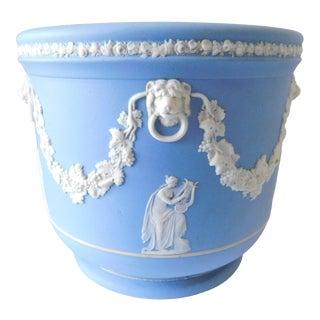 Josiah Wedgwood Jasperware Blue and White Cachepot For Sale