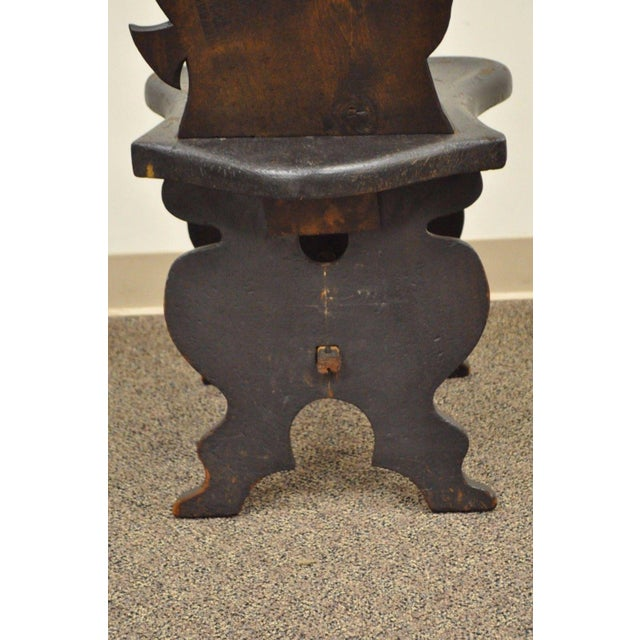Antique Hand Carved Wood Figural Bard Musician Medieval Gothic Tavern Side Chair For Sale - Image 9 of 11