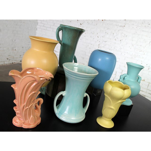 Vintage Collection of Mid-Century Pottery Vases - Set of 7 For Sale - Image 10 of 11