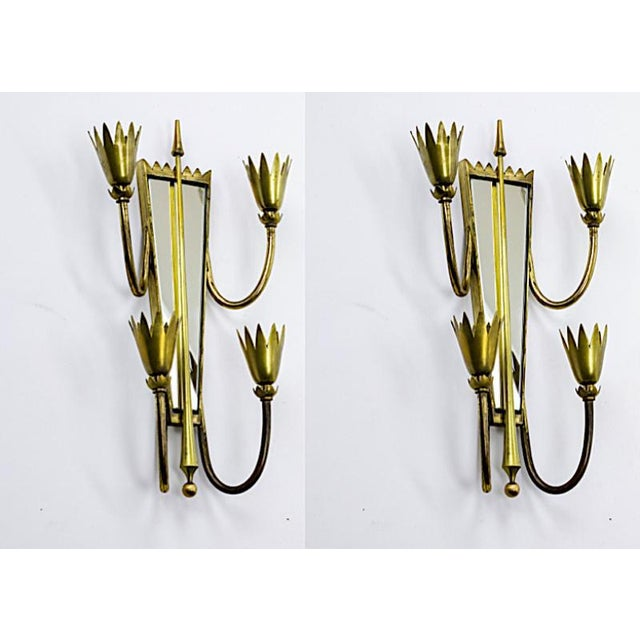 Pietro chiesa pair of mirrored arrow gold bronze sconces.