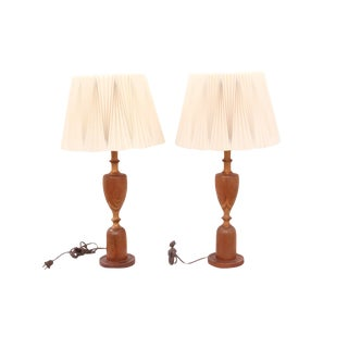 Mid-Century Modern Wooden Lamps With Oragami Shades - a Pair For Sale