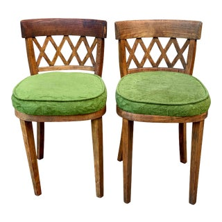 Antique Farmhouse Pine Cross Back Club Side Chairs - a Pair For Sale
