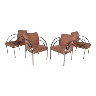 Set of Four Mid-Century Modern Dining Chairs in the Style of Milo Baughman For Sale