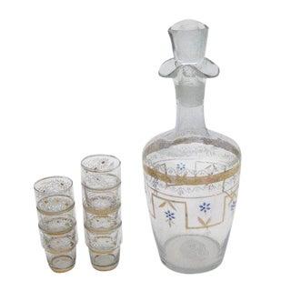 Vintage Floral & Gold Liquor Decanter Bottle & 7 Shot Glasses Bar Set For Sale