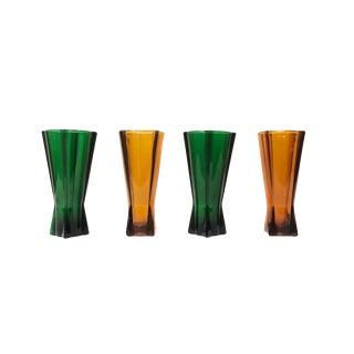 Mid-Century Modern Orange and Green Vases - Set of 4