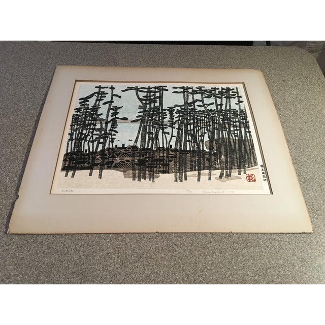 This was a fantastic find. Not only is it a fabulous early block print by world renowned artist, Okiie Hashimoto, it is...