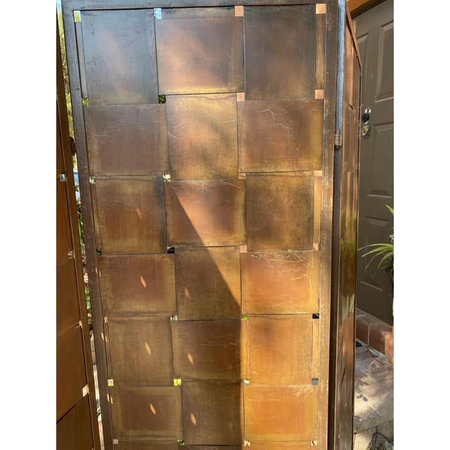 Woven Metal Folding Room Divider Screen 3-Panel For Sale - Image 10 of 11