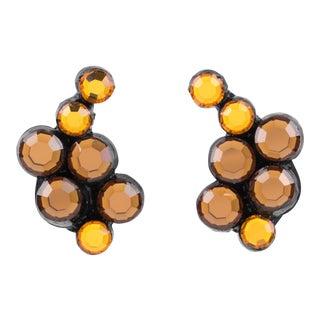 Monique Vedie, Line Vautrin Student Resin Clip Earrings Amber Mirror Rhinestones For Sale