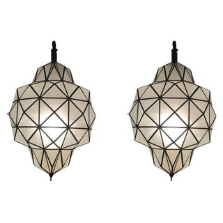 Art Deco Dome Shape While Milk Chandeliers, Pendant or Lanterns - a Pair For Sale