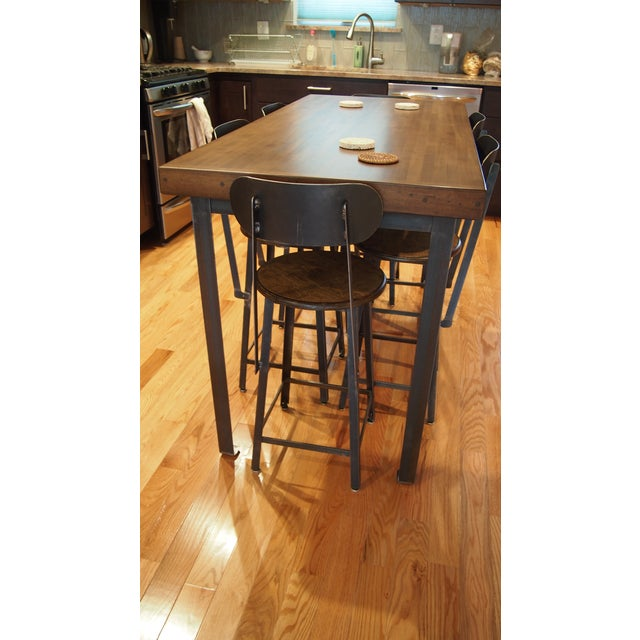 Industrial Industrial Counter-Height Table and Stools Custom Set For Sale - Image 3 of 5