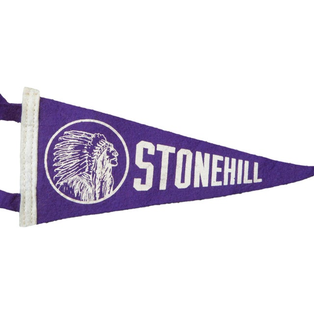 Charming and rare felt flag banner pennant of Stonehill College of Massachusetts, circa 1950's. Very rare! Featuring...