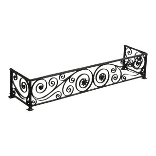 Quality Vintage Scrolled Wrought Iron Fireplace Fender For Sale