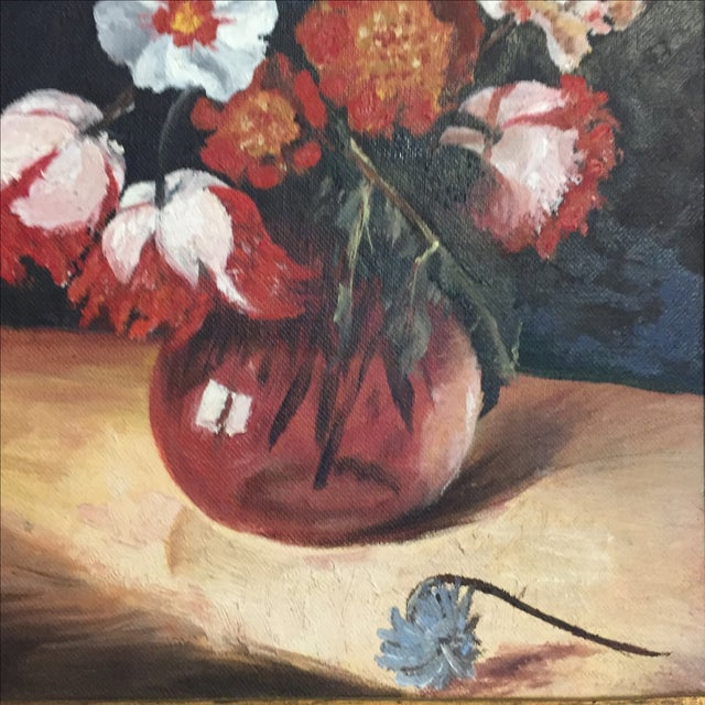 Vintage Floral Still Life Oil Painting - Image 4 of 10