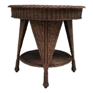 Antique Wicker Heywood Wakefield Table For Sale