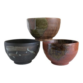Stoneware Raku Pottery Bowls, Set of Three For Sale