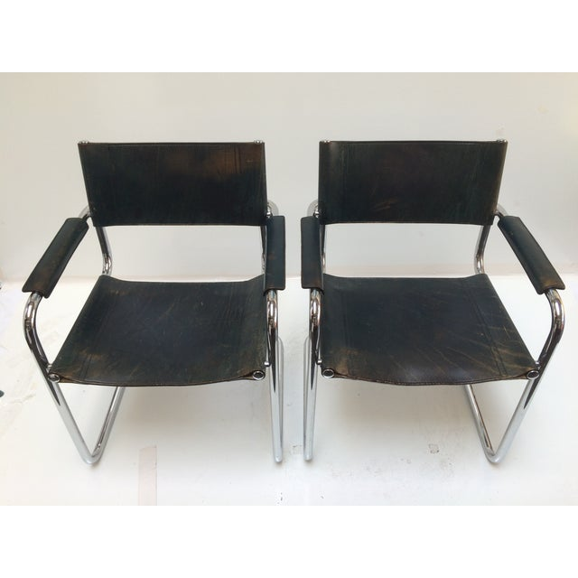 Marcel Breuer Leather Armchairs - A Pair - Image 10 of 11