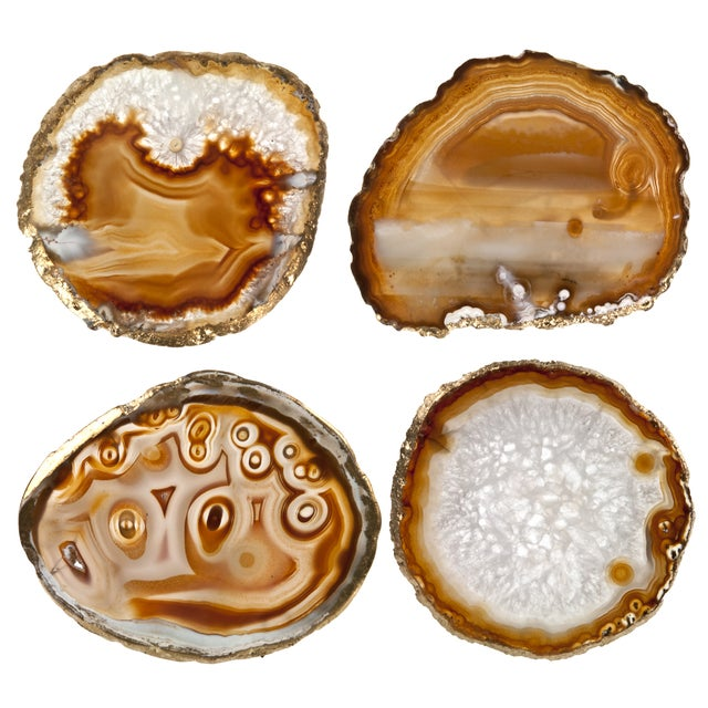 Brown Agate Slice & Gold Rim Coasters - Set of 4 - Image 1 of 2
