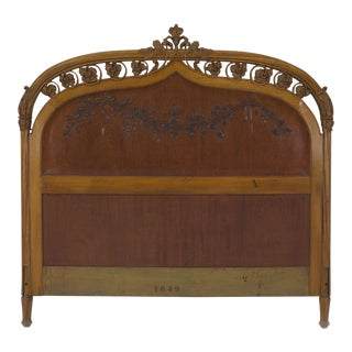 French Art Nouveau Maple Full Size Headboard For Sale