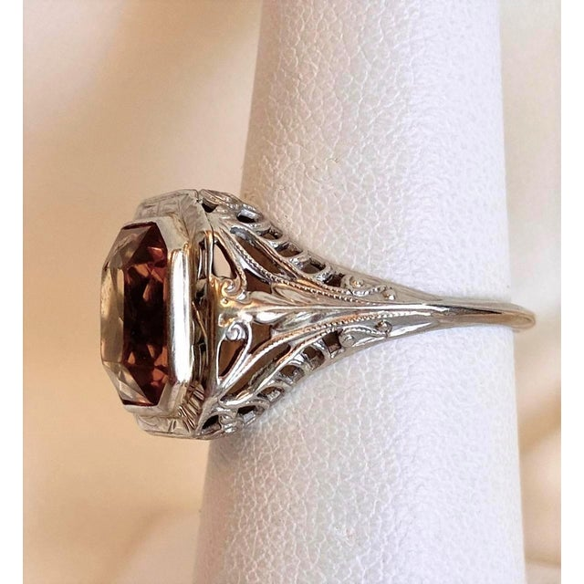 Antique 18k White Gold and Citrine Ring For Sale In Los Angeles - Image 6 of 10