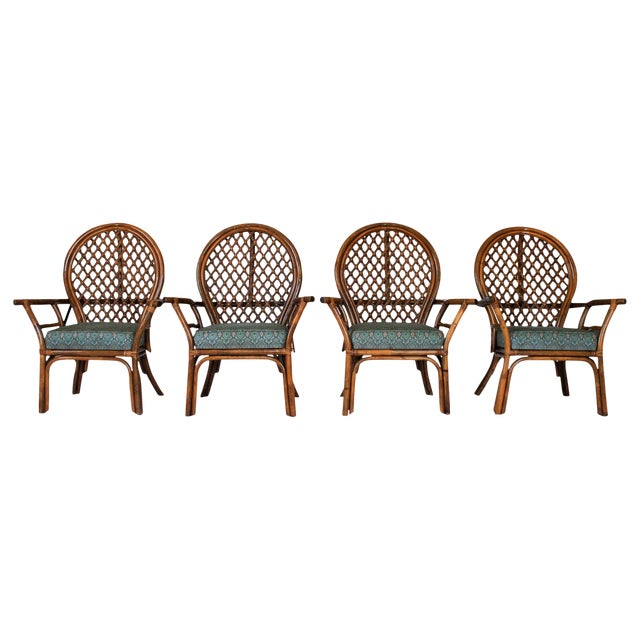 Mid-Century Fan Back Rattan Dining Chairs - Set of 4 For Sale