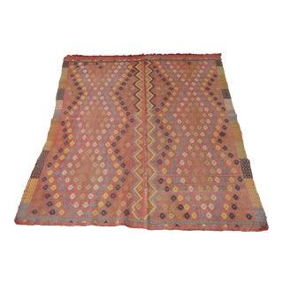Vintage Turkish Flat Weave Rug - 5′1″ × 6′ For Sale