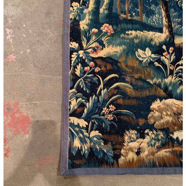 Blue Mid-18th Century French Verdure Aubusson Tapestry With Trees and Foliage For Sale - Image 8 of 13